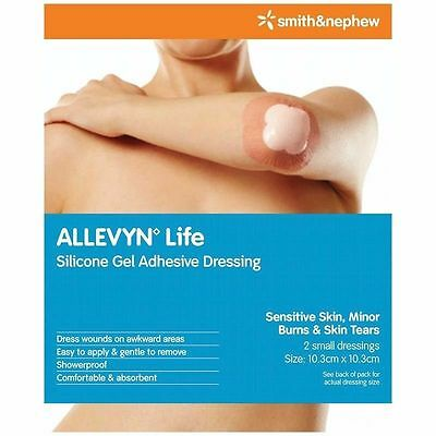SMITH&NEPHEW ALLEVYN LIFE SILICONE GEL ADHESIVE DRESSING-2 PACK SMALL 10.3x10.3