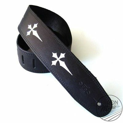 DSL Strap Guitar Bass Leather Gothic Cross Black 2.5 Inch Aus Made NEW