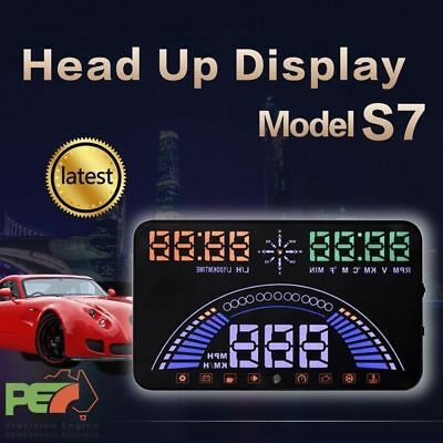 """S7 5.8"""" Head Up Display OBD2& GPS Windscreen Speedometer Sys For Ford x2 Mustang"""