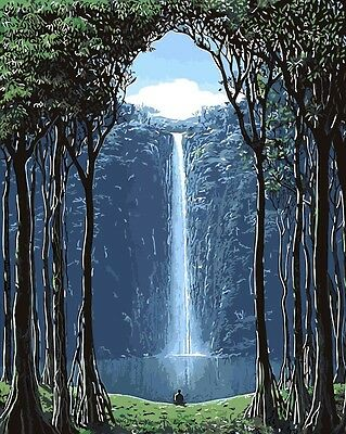 Framed Painting by Number kit Waterfall In The Forest Dhyana Thinking DIY BB7631
