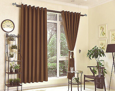 2 X Blockout Eyelet Curtains 100% Blackout Room Darkening