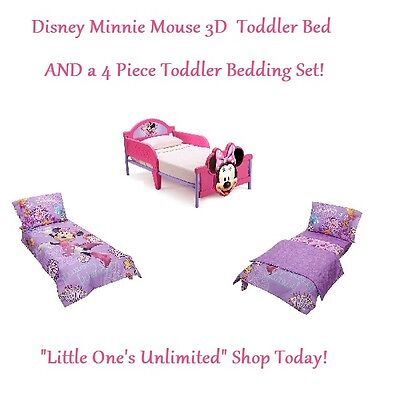 Minnie Mouse 3D Toddler Bed AND a 4 Piece Toddler Bedding Set BRAND NEW
