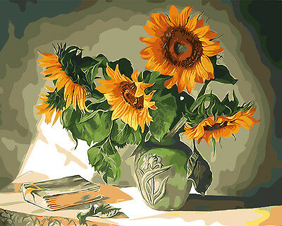 Framed Painting by Number kit A Vase of Flowers Floral Sunflowers Life BB7635