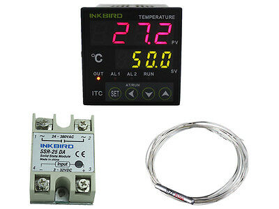 Digital Temperature Controller PID Heat Cool Thermostat 110-240V / PT100 25A SSR
