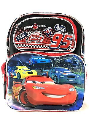 "Disney Pixar 95 Cars Boys 12"" Canvas Black & Red School Backpack"
