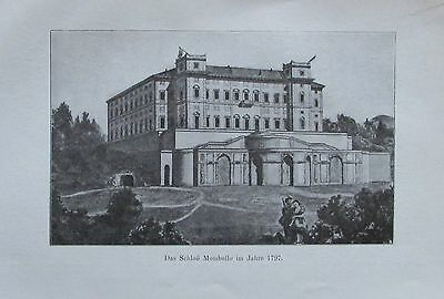1913 SCHLOSS MOMBELLO Italy Italien alter Druck antique print Lithographie