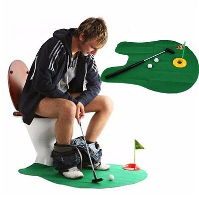 Hot Creative Bathroom Toilet Mini Golf Potty Putter Game Men's Toy Novelty Gift