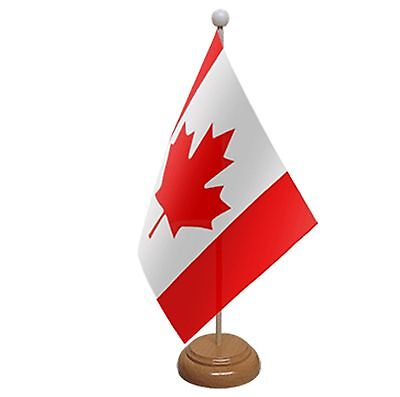 """Canada Table Flag 9""""x6"""" With Wooden Base Flags Canadian"""