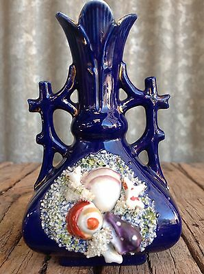 MINIATURE Cobalt Blue SEASHELL PORCELAIN VASE