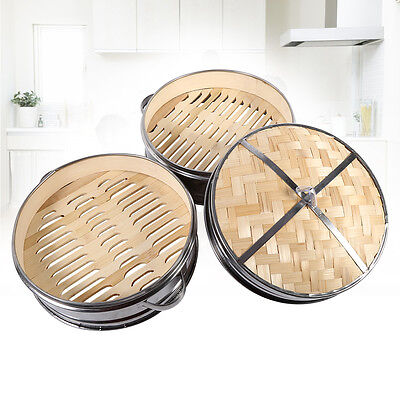 Stainless Steel Steamer 20CM 2 Tier Chinese Dim Sum Rice Basket With Bamboo Lid
