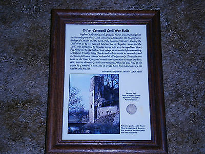 Oliver Cromwell - bullet from the Siege of Newark Castle display plaque