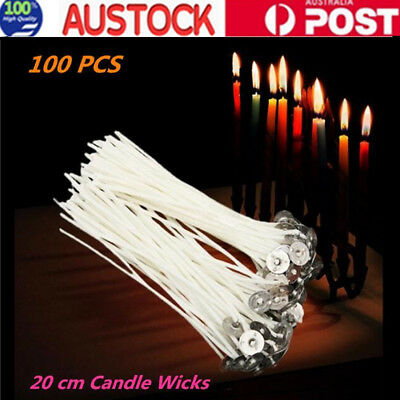 100XPre Waxed Candle Wicks Low Smoke with Sustainer Tab Cotton Core CandleMaking