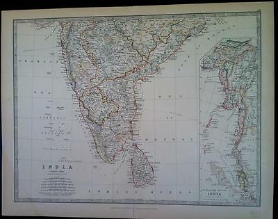 100% Original Map of SOUTHERN INDIA c1885, by W & A.K. JOHNSTON, colour VGC