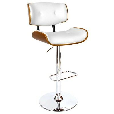 Wooden Bar Stools Gas Lift w/ White Cushion for Kitchen Dining Room