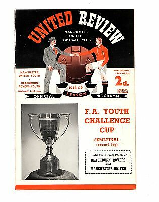 1958-1959 Manchester United Youth v Blackburn Rovers FA Youth Cup Semi