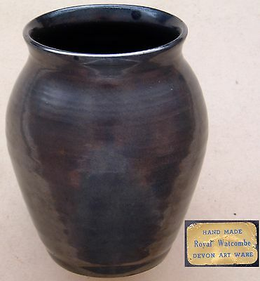 "Royal Watcombe (Devon Art Ware) : Hand Made: Dark Lustre Baluster Vase: 4¼"" Tall"