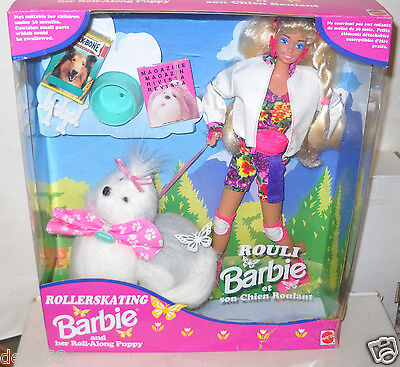 #6894 NRFB Canada Zeller's Rollerskating Barbie & her Roll Along Pup Foreign