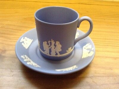 Wedgwood Jasper Ware Blue Coffee Can/cup  & Saucer