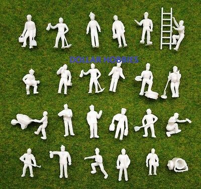 100 Pcs.1:87 UnPainted White Figures Workers HO Scale/Guage