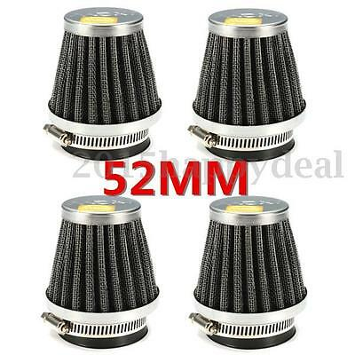 4X 52mm Chrome Motorbike Air Filter For Yamaha Suzuki Kawasaki Intake ZX550 GSXR