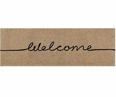 """Welcome"" LONG Mat modern design - 100% Coir Doormat / Door Mat Natural Mushroom"