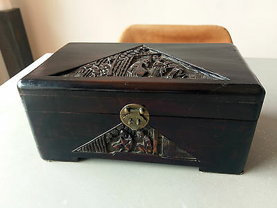 Antique Chinese Carved Wooden Box With Brass Fittings — Nice Vintage Item