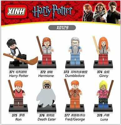 Harry Potter Hermione Ron Luna Fred 8 Mini figures Building Bricks Toys