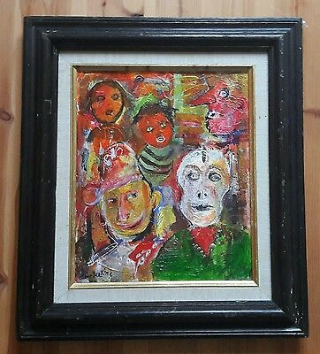 "Original oil on canvas framed painting by Deakine. ""CARNIVAL"" Style of  J. Ensor"