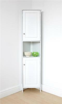 White Bathroom Corner Cabinet with Open Shelf, Home , Storage Solutions, New