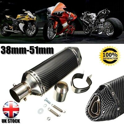 38-51mm Carbon Fiber Motorcycle GP Bike Exhaust Muffler Pipe Movable Silencer UK