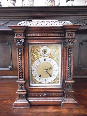 Very Large Victorian Lenzkirch Carved Solid Oak Bracket Mantel 8 Day Clock