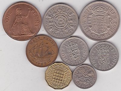 1962 Elizabeth Ii Set Of 8 Coins In Very Fine To Near Mint Condition