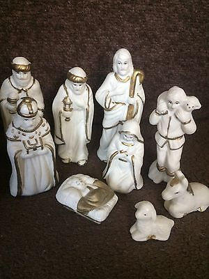 nativity white and gold pot figures