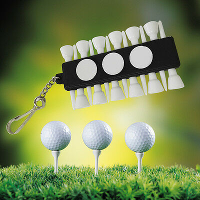 Outdoor Golf Tees Holder Carrier 12 Rubber Tees 3 Ball Markers With Keychain HOT
