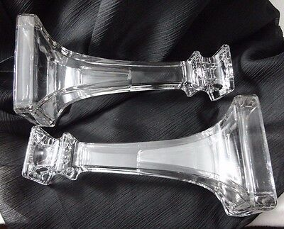 Stunning Vintage Heavy Clear Art Glass Taper Candlestick Candle holder Pair 2