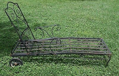 Vintage Chaise Lounge Lawn Chair Wrought Iron Garden