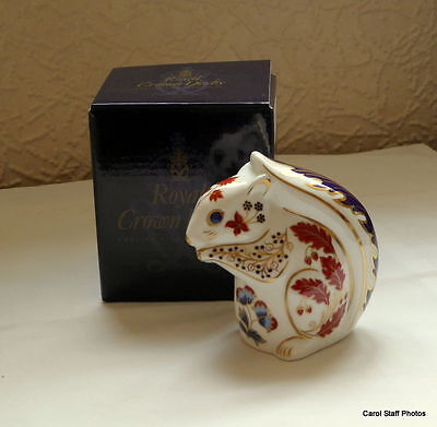 royal crown derby squirrel boxed -1st quality gold stopper