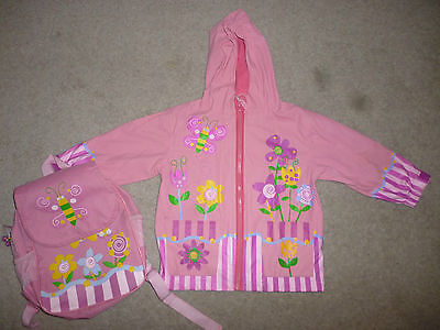 Girls Designer Rain Coat and matching backpack Very Cute aged 3
