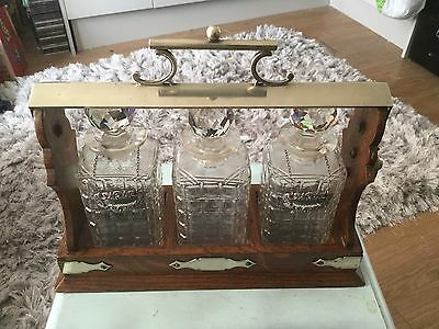 Victorian Daniel & Arter Tantalus With Solid Silver Whisky Brandy Labels