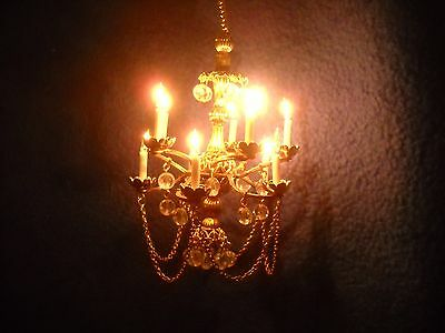 Crytal & brass electrified chandelier, Small Tiime,1:12 scale, #212 Catillion