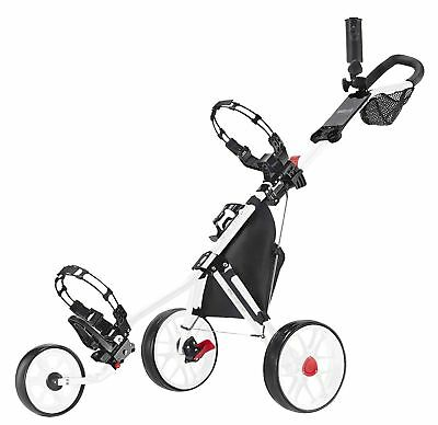 Caddytek 11.5 V3 ALU 3 Rad Golf Push Trolley leicht White Edition Modell 2017