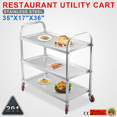 Kitchen Stainless Steel Serving Cart Food PREP Medical Rolling STRONG PACKING