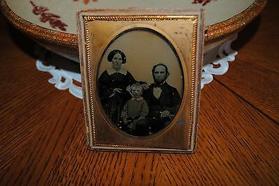 Antique 1/4 Plate Victorian Family So Serious Great Look