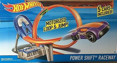 Hot Wheels Motorised Power Shift Raceway Loop & Jump with 5 cars included