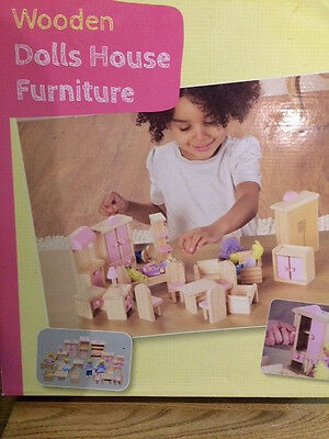 Wooden Toys - Dolls House Furniture and Doll Family - Brand New