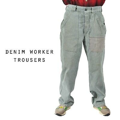 Vintage Denim Worker Combat Military Trousers Grey/Green Various Sizes