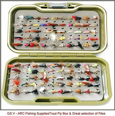 GS-V Fly Box set + Trout Flies - Trout Fly Fishing Flies Dry Wet Nymph Buzzers