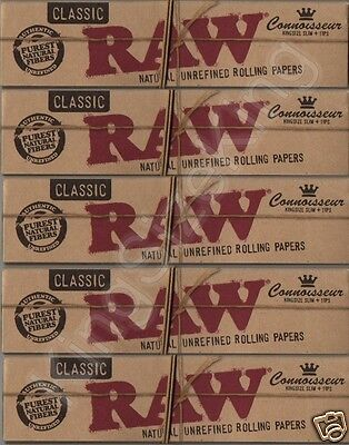 Raw King Size Connoisseur Classic Hemp Rolling Papers With Tips (x5 Packs)