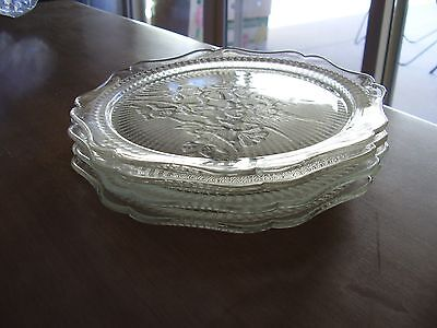 "Iris and Herringbone Crystal 8"" Plates Set of Four Hard to Find FREE SHIPPING"