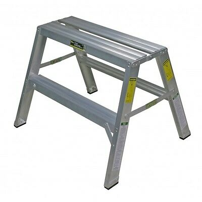 "Warner 10225 - 24"" Step Up Drywall Bench WIDE Double Sided Aluminum Step Ladder"
